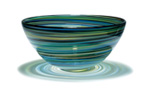 """Aqua Swirl"" glass bowl by Caleb Siemon"