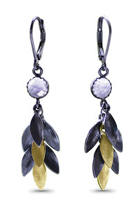 """Small Feather Earrings"" Gold, Silver, & Stone Earrings by Jamie Cassavoy"