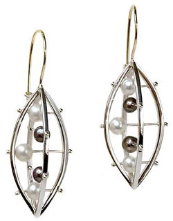 """Abacus Criss Cross Earring"" Silver Earrings by Patricia Madeja"