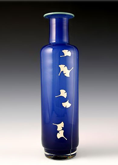 """Ginkgo Mallet Vase in Dark Blue"" by  Richard S. Jones"