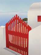 """Red Gate"" serigraph print by Elena Borstein"