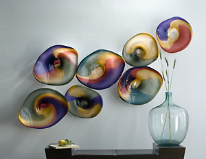 Point Reyes Landscape- 7 Series: Janet Nicholson and Rick Nicholson: Blown Glass Discs