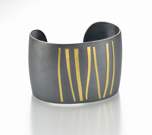 """Ancient Steps"" Silver & Gold Cuff by Lisa Ceccorulli"