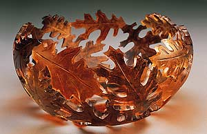 Fall Oak Bowl: Ann Alderson  Cabezas: Glass Bowl - The Artful Home