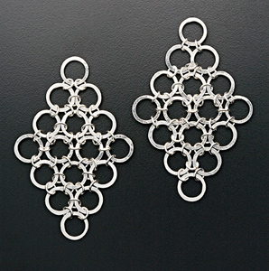 Large Hammered Circle Diamond Earrings: Randi Chervitz: Silver Earrings - Artful Home