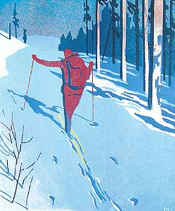 Road Ski Rest: Mike Ferguson: Linocut Print - Artful Home
