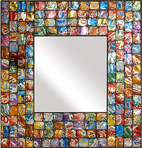 Pop Art Mirror: Mitch  Levin and Susie Levin: Recycled Metal Mirror - The Artful Home from guild.com