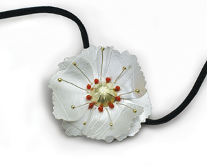 Poppy Pendant on Leather: Jamie Cassavoy: Silver & Gold Pendant - Artful Home