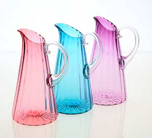 Decorative Art: Optic Pitchers by Cal Breed :  optic handblown art glass optical design cal breed