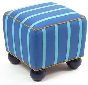 Blue Stripe: Linda Laino: Upholstered Ottoman - The Artful Home