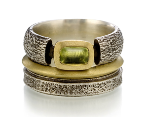 """Earth Elements with Peridot Set"" Silver, Gold, & Stone Rings by Susan Barth"