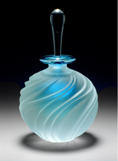 Carved Swirl Perfume Bottle By Mary Angus Art Glass