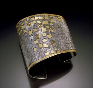 Cuff Bracelet: Nina Mann: Silver & Gold Cuff - Artful Home