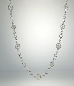 Lace Circle and Chain Necklace: Sarah Richardson: Silver Necklace - Artful Home