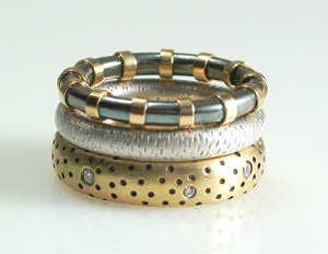 Textured Stack: Susan Chin: Silver, Gold & Stone Ring Set - Artful Home