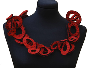 Red Loopy Collar by Danielle Gori-Montanelli