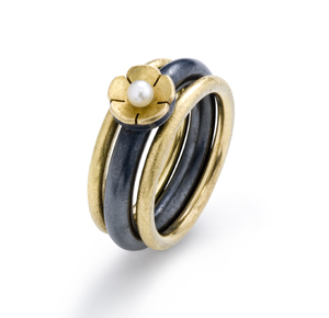 Gold Flower Ring Set: Giselle Kolb: Gold, Silver, & Pearl Rings - Artful Home