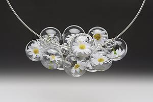 Daisys for days necklace: Melissa Schmidt: Art Glass Necklace - Artful Home
