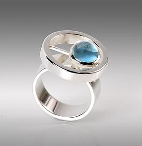 Round Glider Ring: Danielle L. Miller: Silver & Stone Ring - Artful Home