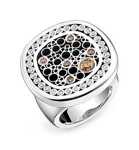 Rounded Square Medallion Ring: Belle Barer: Silver & Stone Ring - Artful Home