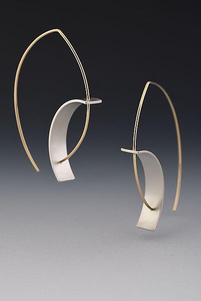 tension earrings by hilary hachey gold silver earrings