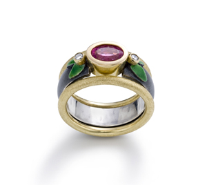 Pink Tourmaline Stackable Ring Set: Giselle Kolb: Gold, Silver, & Stone Rings - Artful Home