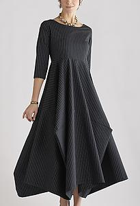 Poplin Beth Dress: Three-quarter Sleeve Pinstripe & Solid: Lynn Mizono: Poplin Dress - Artful Home