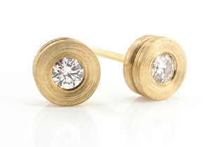 Torno Small Ear Studs: Catherine Iskiw: Gold and Stone Earrings - Artful Home