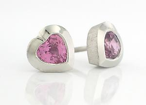 Sweet Heart Studs - Platinum with Pink Sapphires: Catherine Iskiw: Platinum & Stone Earrings - Artful Home