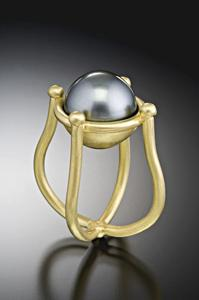 Tahitian Pearl Ring: Michele Mercaldo: Gold & Pearl Ring - Artful Home