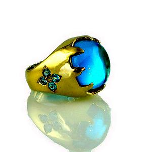Blue Castle Ring: Ana Cavalheiro: Gold & Stone Ring - Artful Home