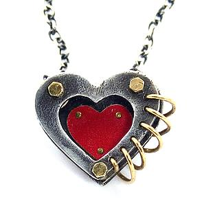 Love in 3-D Heart Pendant: Beth Taylor: Silver & Tin Necklace - Artful Home