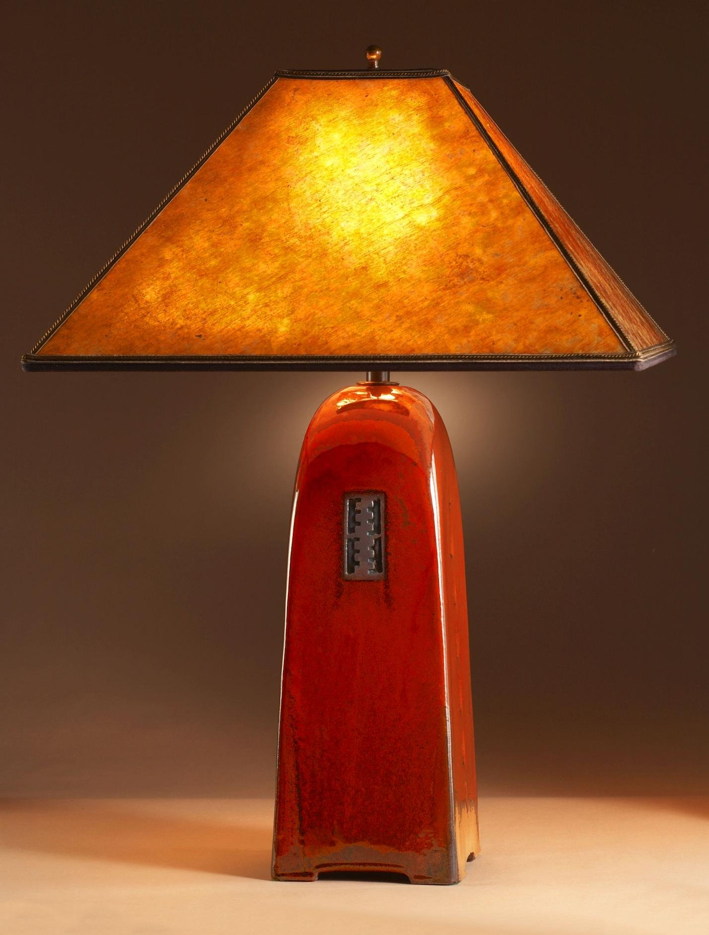 Russet Lamp With Mica Shade By Jim Webb Ceramic Lamp