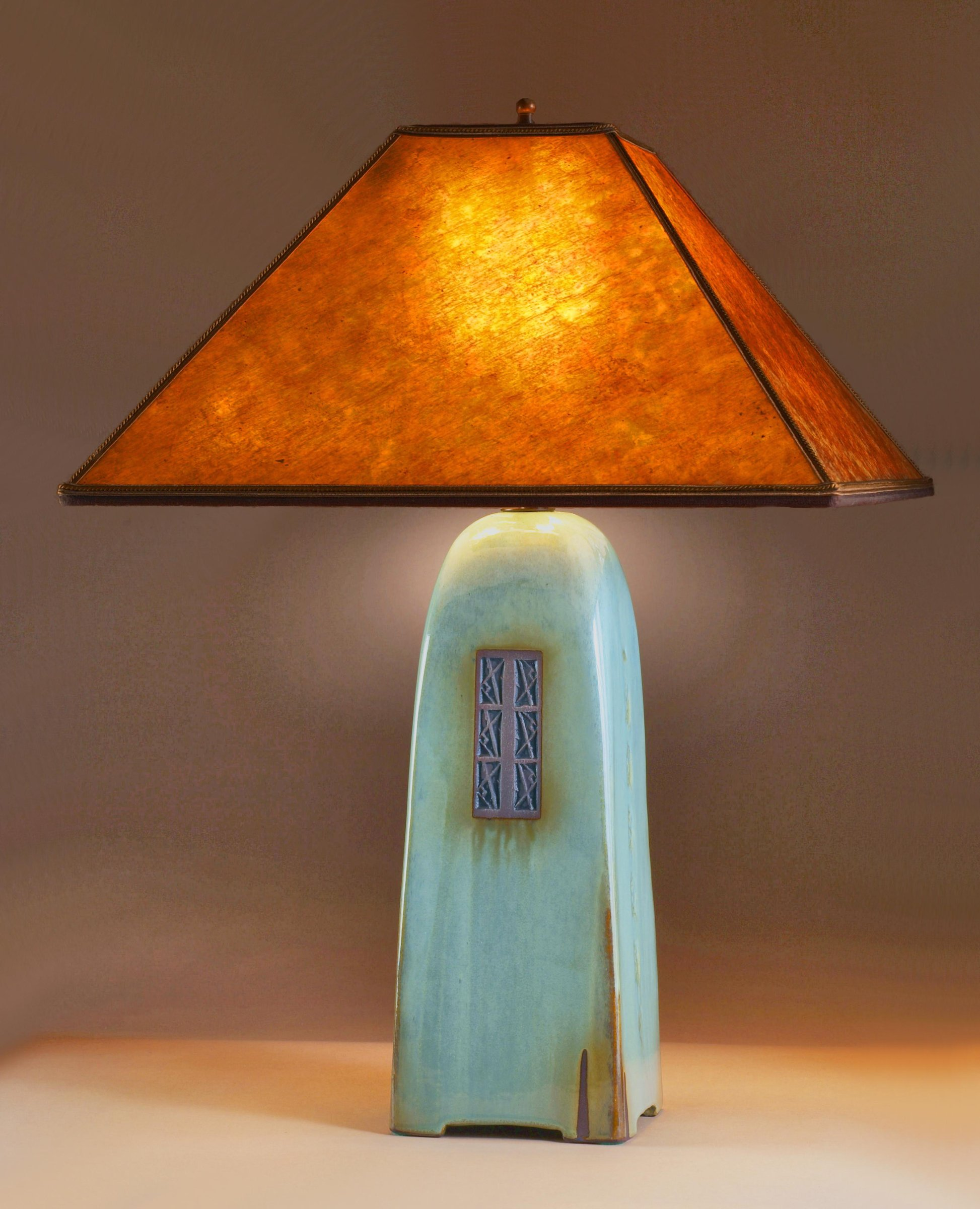 Celadon Lamp With Amber Mica Shade By Jim Webb Ceramic