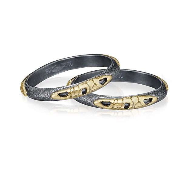 narrow band in oxidized silver and 18k gold by rona fisher