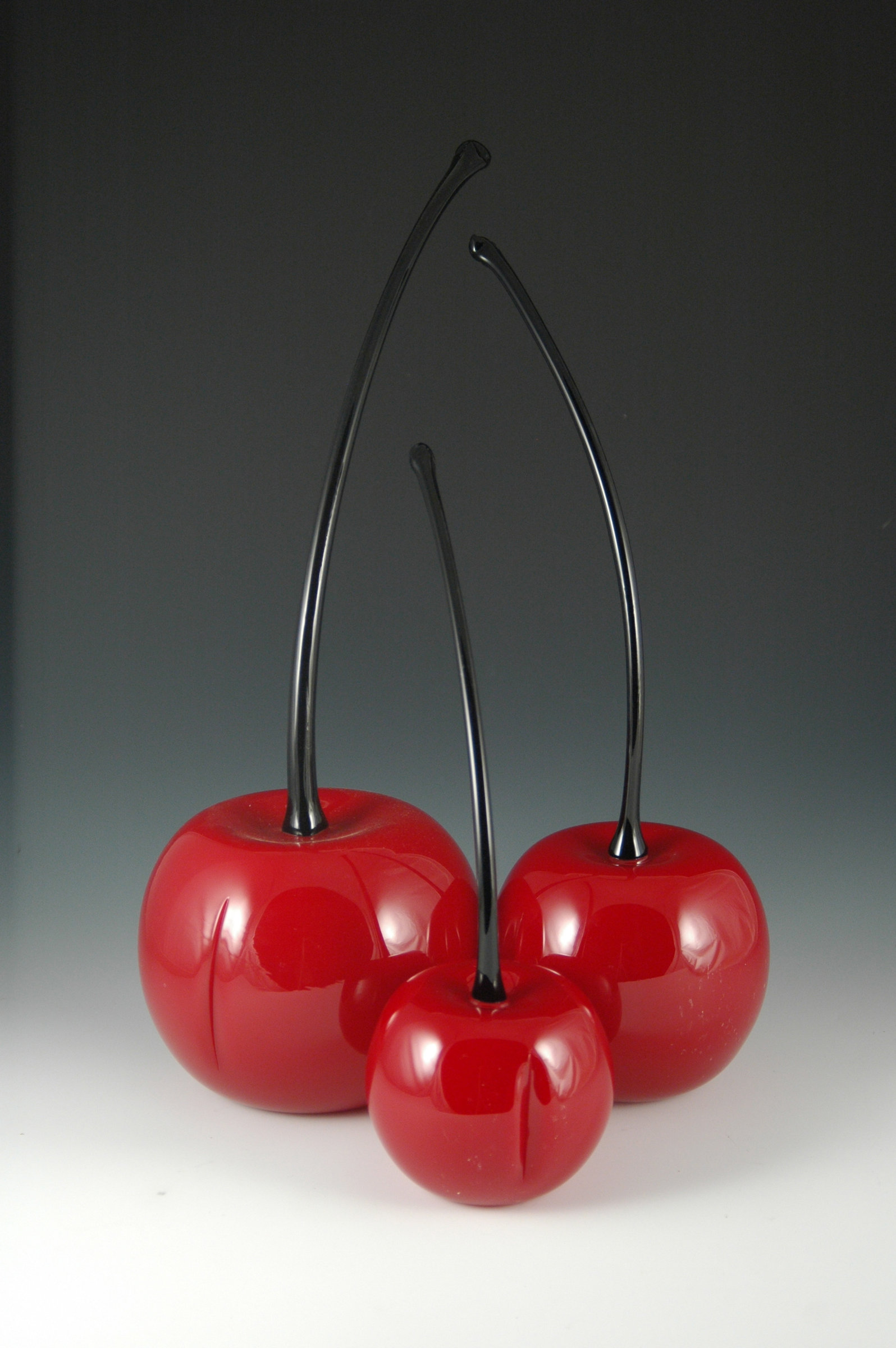 Red Cherries By Donald Carlson Art Glass Sculpture