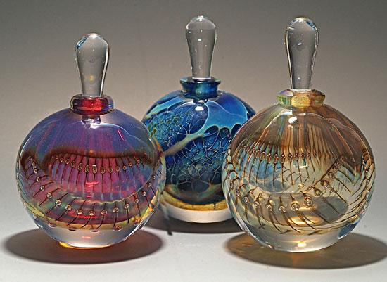 silver perfume bottles by robert burch art glass perfume