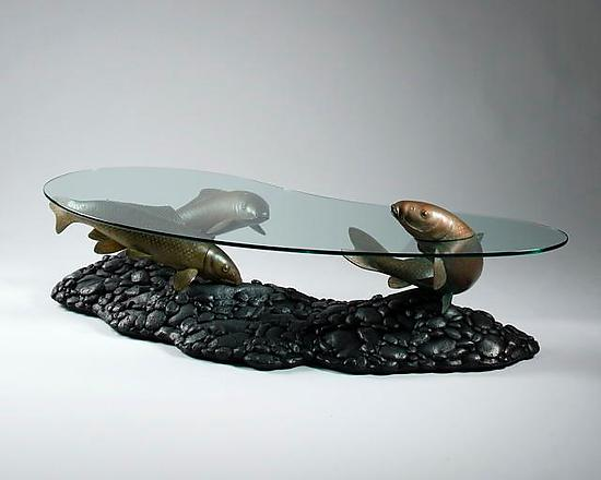 Koi by mike dillon resin coffee table artful home for Koi fish pool table
