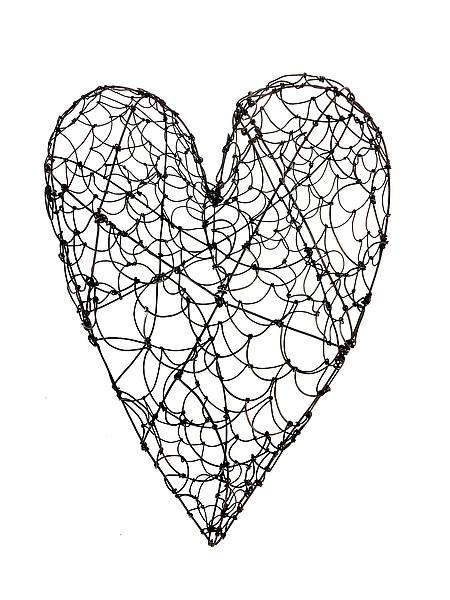 large wire heart by barbara gilhooly  metal wall sculpture