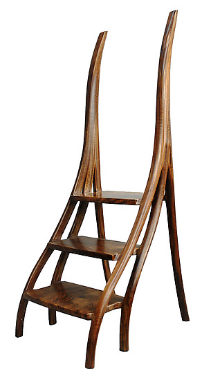 Wood Library Step Stool Chair