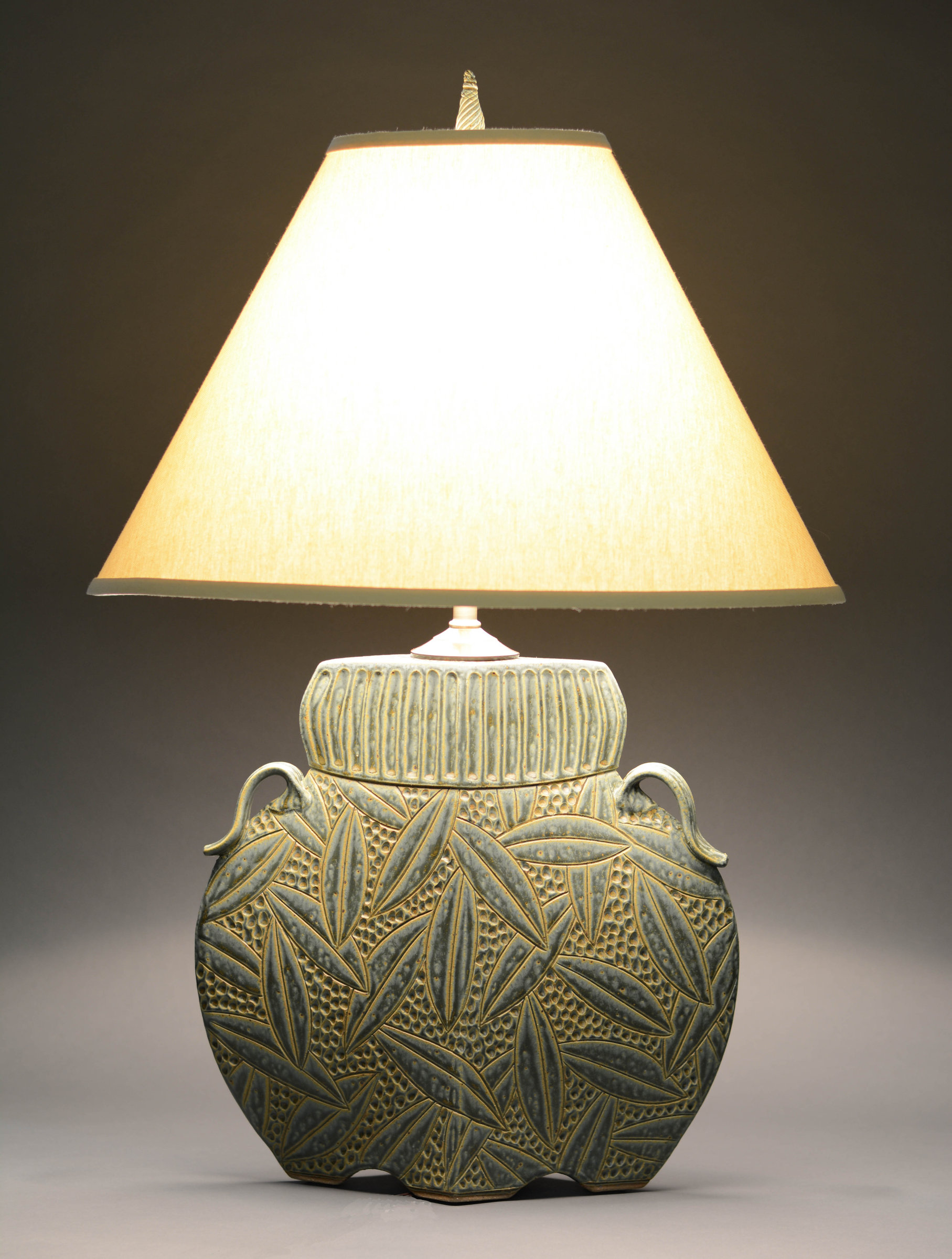 Arts And Crafts Lamp In Sage By Jim And Shirl Parmentier
