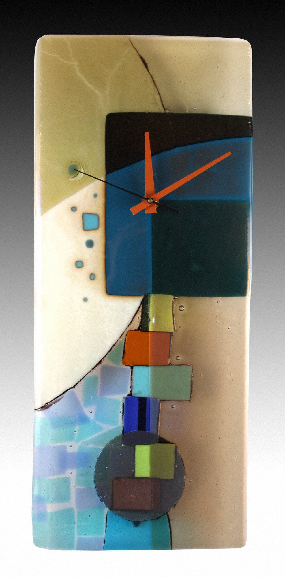 Andrea Fused Glass Pendulum Clock By Nina Cambron Art
