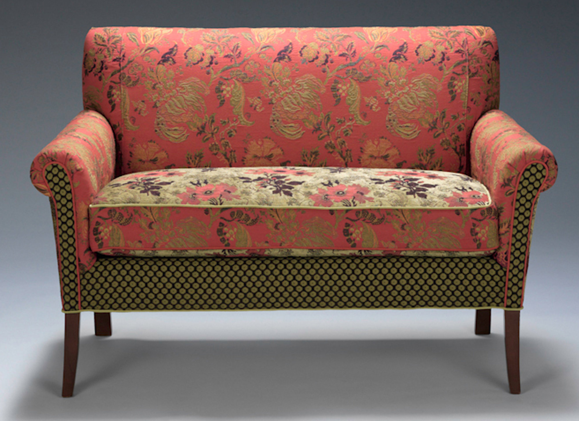Salon Settee In Melody Rustic By Mary Lynn O Shea Upholstered Sofa Artful Home