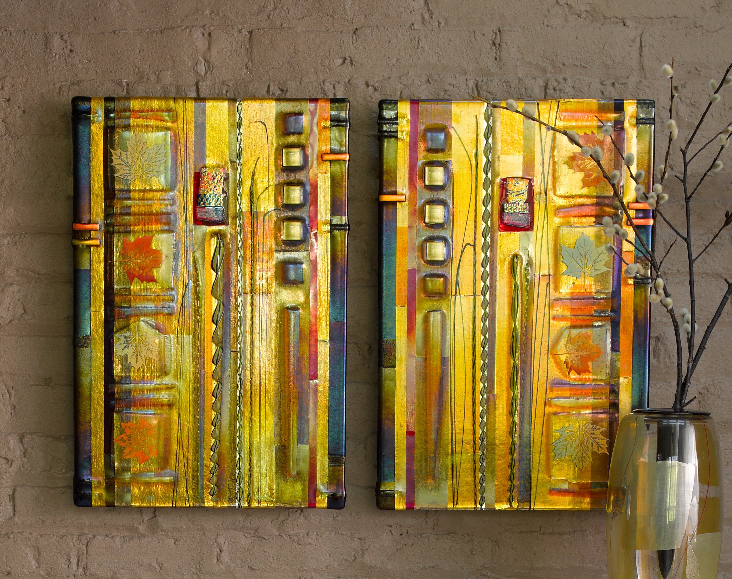 Wall Art Glass Framed : Amber leaf panels by mark ditzler art glass wall