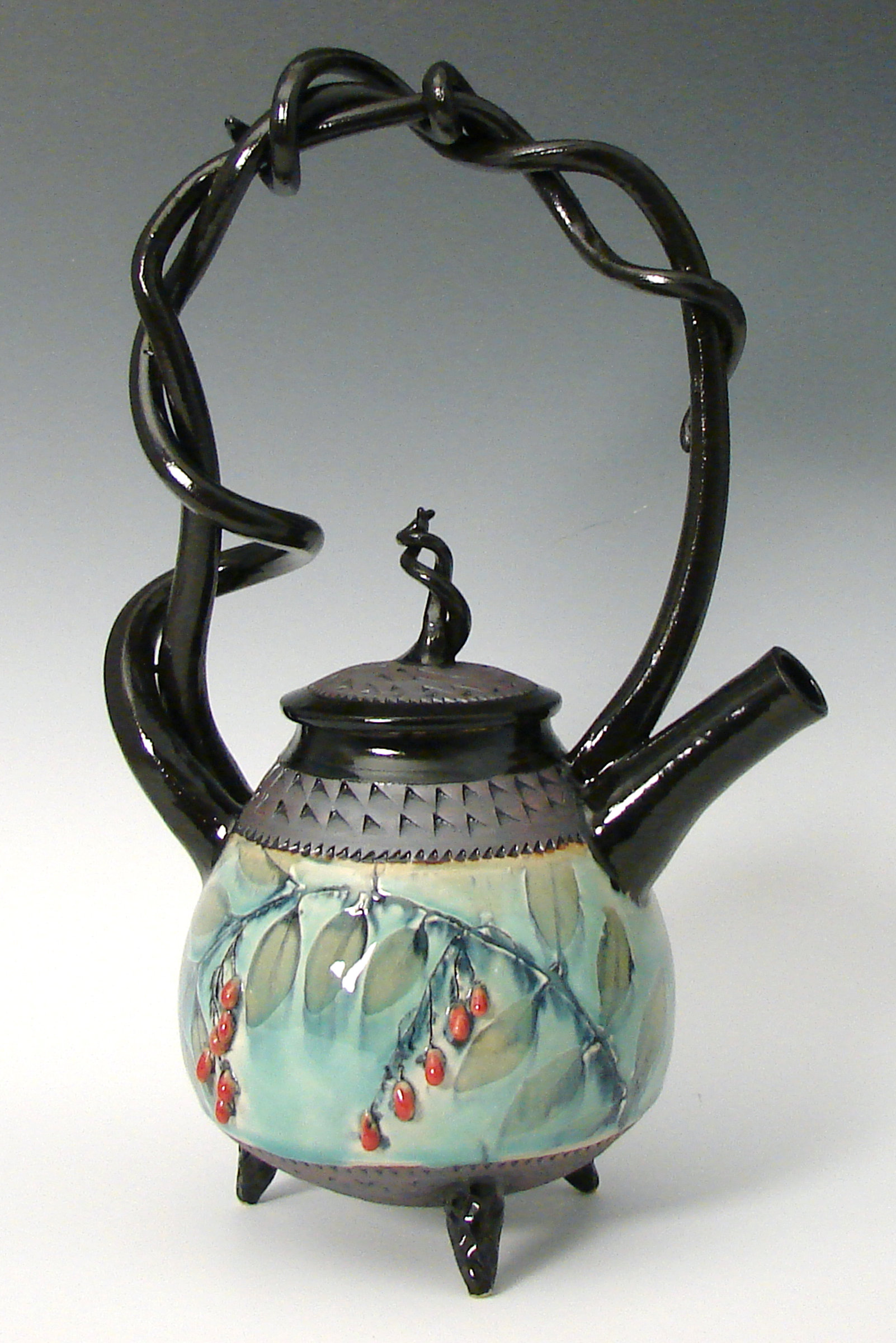 Basket Handled Teapot with Red Berries by Suzanne Crane ...