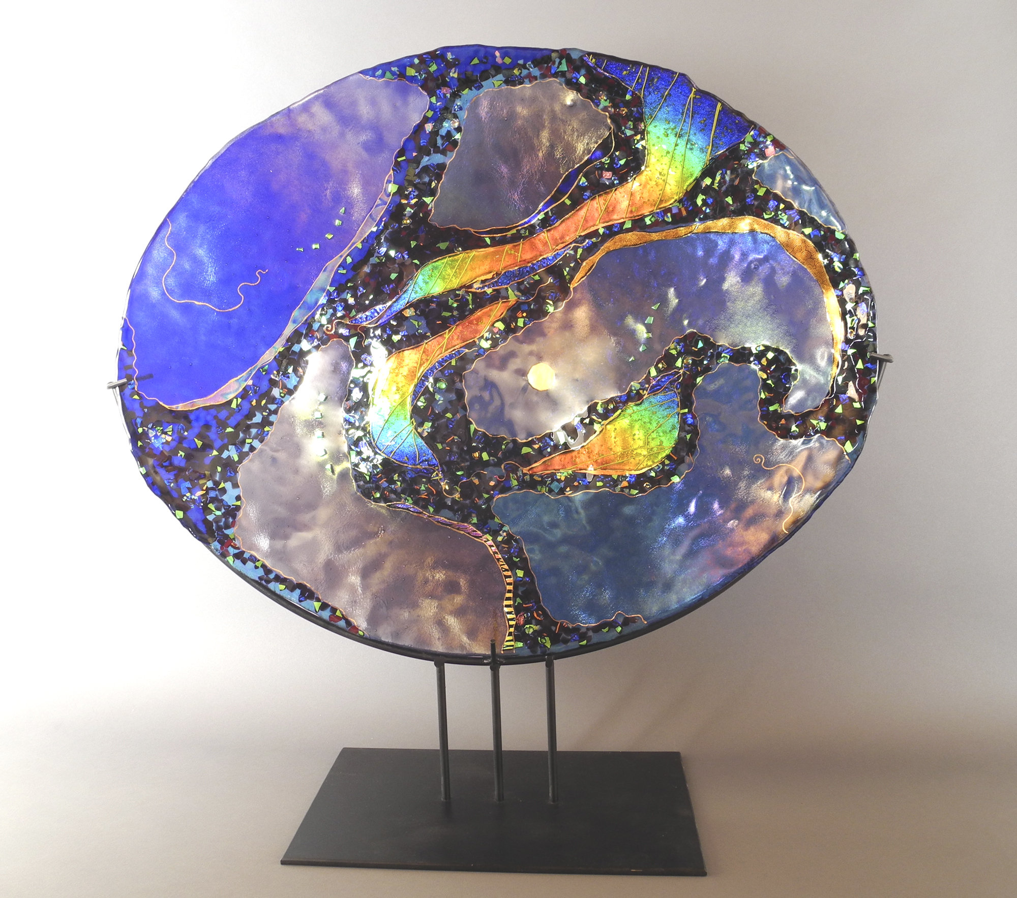 Large Blue Oval On Stand By Karen Ehart Art Glass