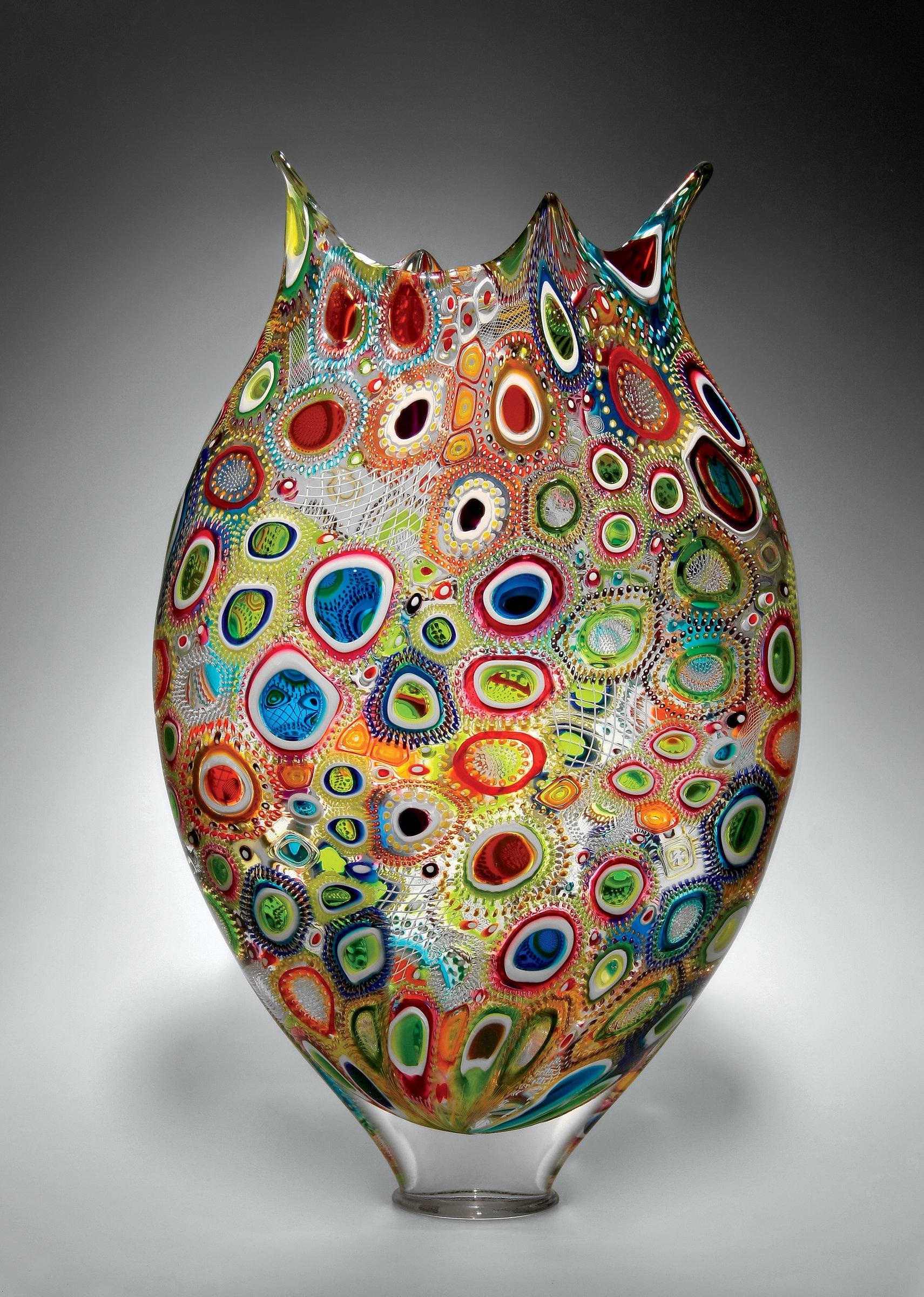 Mixed Murrini Foglio By David Patchen Art Glass Vessel