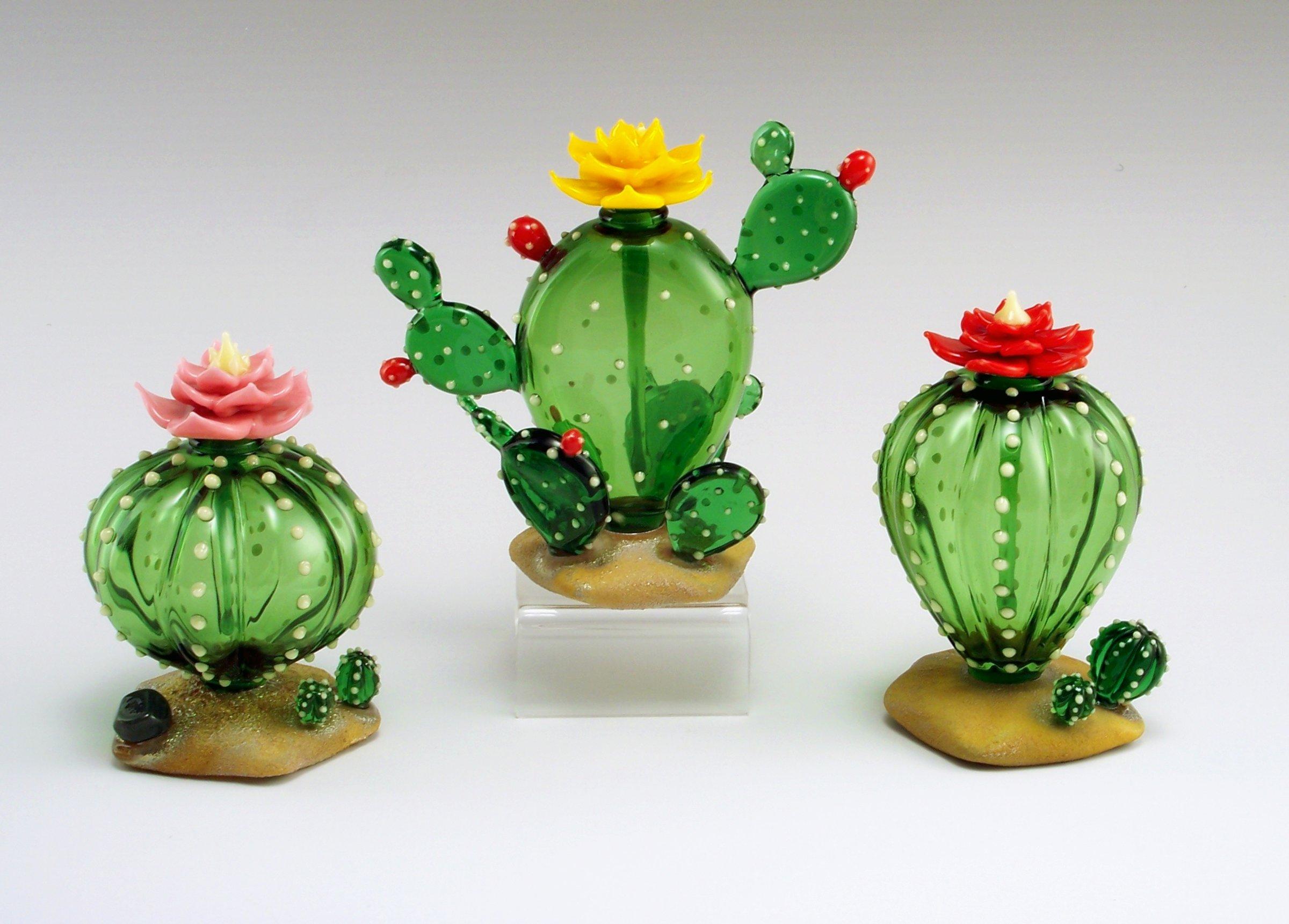 Cactus Perfume Bottle By Garrett Keisling Art Glass