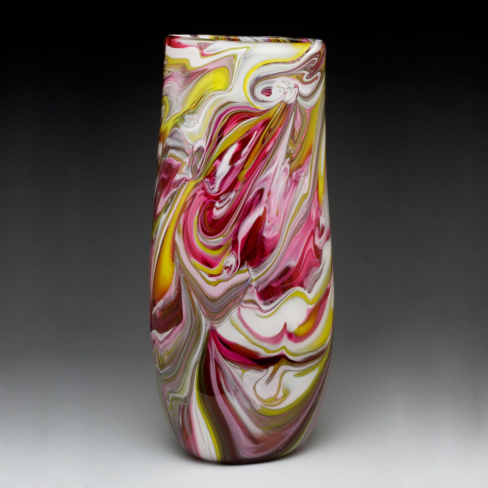 Flattened Cylinder Marble Vase By Bryan Goldenberg Art Glass Vase Artful Home