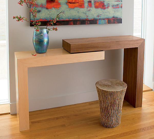 Stepped console by todd leback wood console table for 12 deep console table